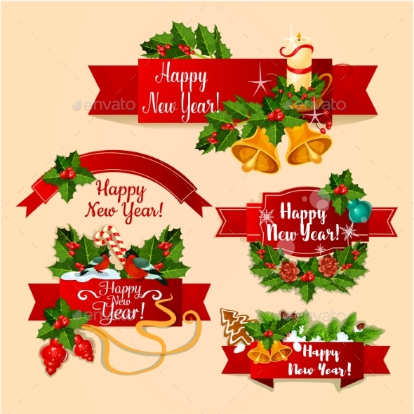 New Year Red Ribbon Banners