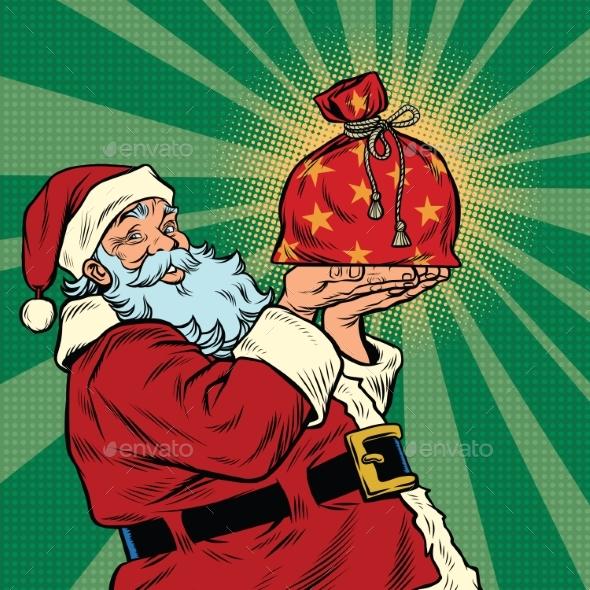 Santa Claus with a Festive Christmas Gift Bag