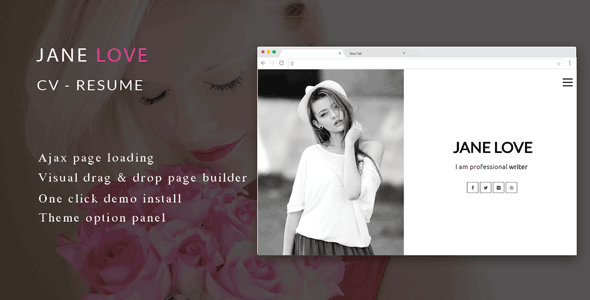 Jane Love - CV/Resume WordPress Theme 4