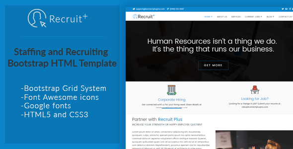 Recruit Plus Staffing and Recruiting HTML Template