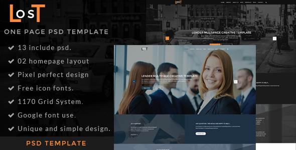 Download lost-one page psd template Nulled