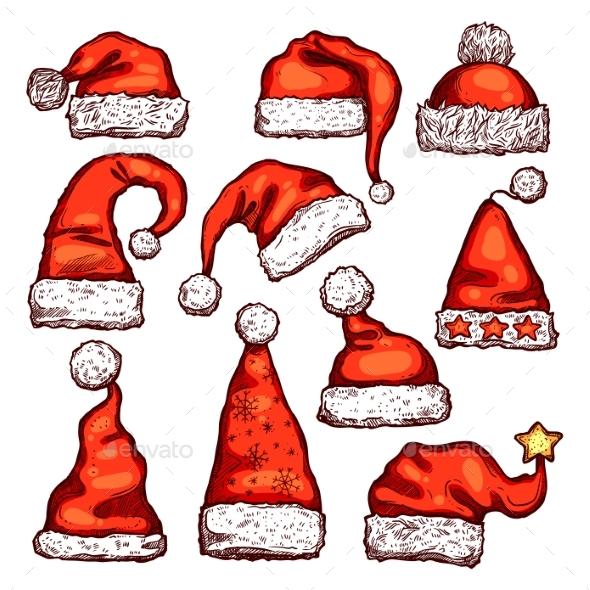 Santa Red Hat Sketch for Christmas Holiday Design