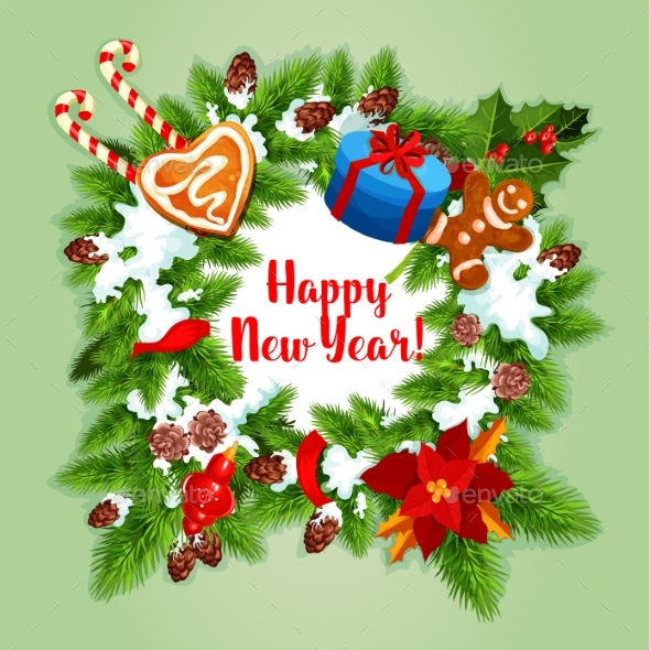 New Year Holiday Wreath Design