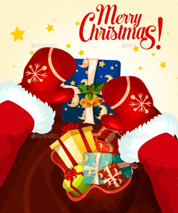 Santa Claus with Gift Bag Christmas Card Design