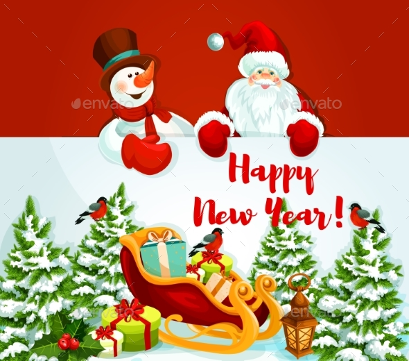 Holiday Design with Santa Claus, Snowman and Gift