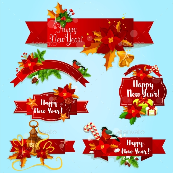 New Year Holiday Red Ribbons and Labels