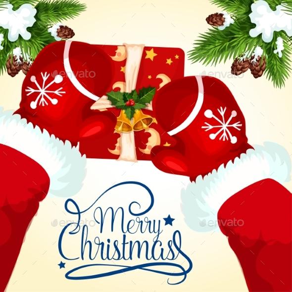 Christmas Greeting Card with Santa and Gift Box