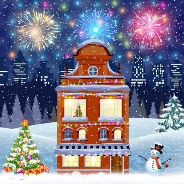 Cartoon Retro Merry Christmas Night Illustration
