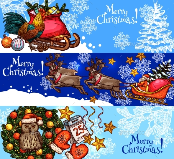 Christmas New Year Sketch Banner for Xmas Design