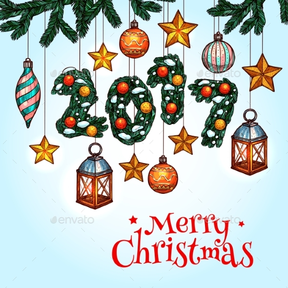 Christmas Greeting Card with Decorated Xmas Tree