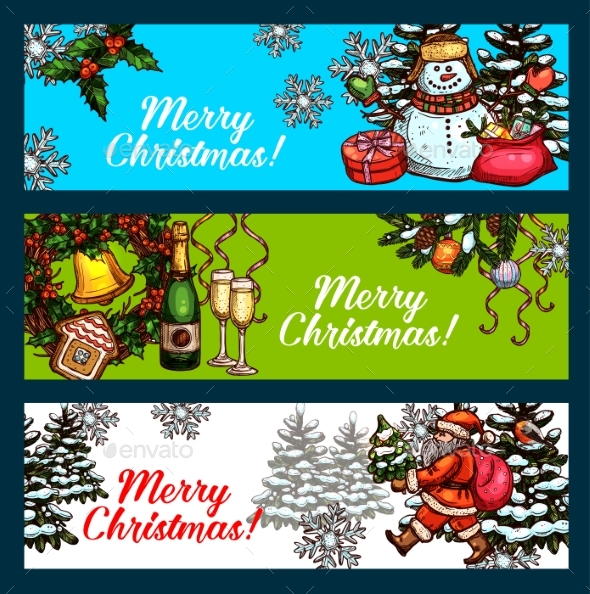 Christmas Day, New Year Festive Banner Set