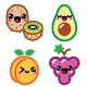 Kawaii Fruit and Nuts Character Icons Set - GraphicRiver Item for Sale