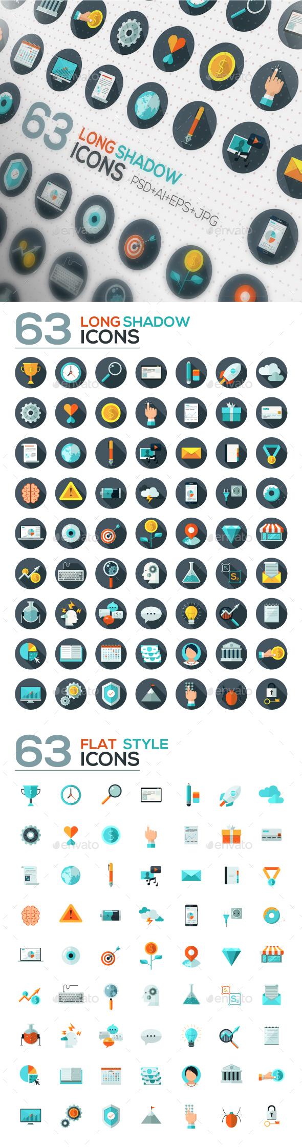 126 Flat Designed Icons Set