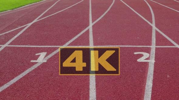Athletics Stadium With Red Running Sport Track