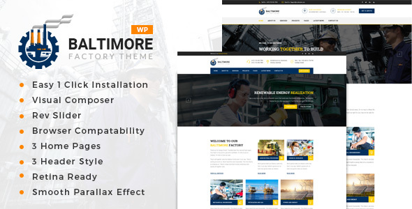 Baltimore Factory - Factory & Industrial Business WordPress Theme