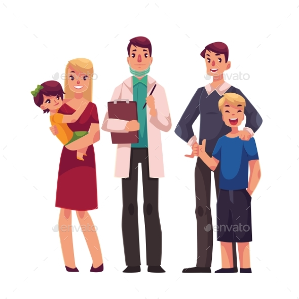 Family Doctor with Patients, Father, Mother and
