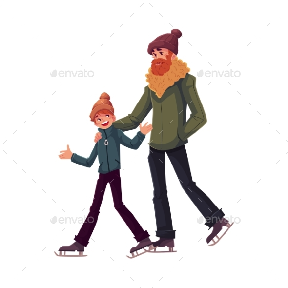 Happy Father and Son Ice Skating Together