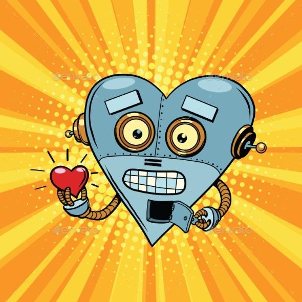 Retro Robot Heart Valentine Love and Romance
