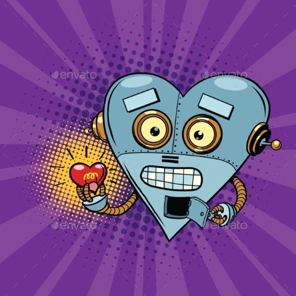 Retro Robot and the Light Bulb Heart Valentine