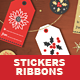 Christmas Ribbons Stickers and Tags - GraphicRiver Item for Sale