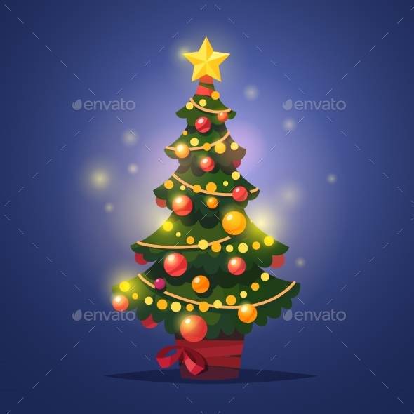 Glowing Decorated Winter Christmas Tree with Star