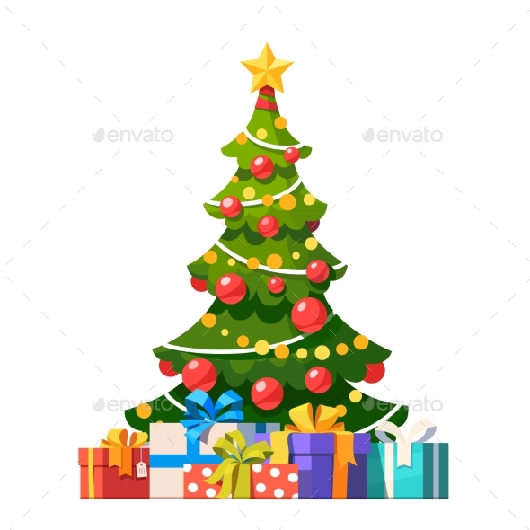 Decorated Christmas Tree with Lots of Gift Boxes