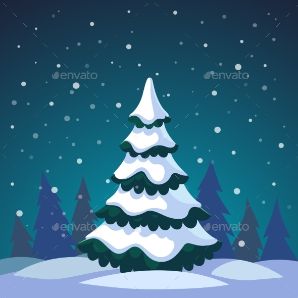 Christmas Fir Tree Covered in the Forest