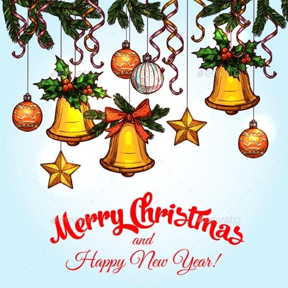 Christmas Ornaments on Xmas Tree Sketch Poster