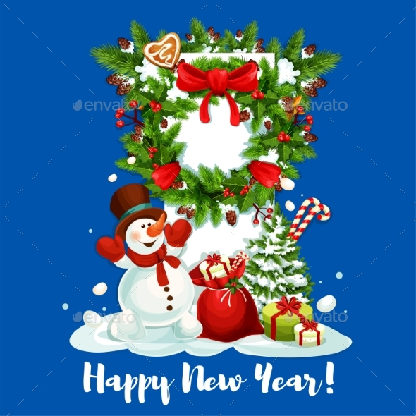 New Year Card with Snowman, Gift and Wreath