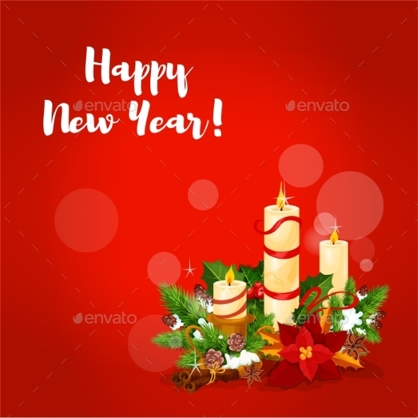 New Year Candle Arrangement Greeting Card