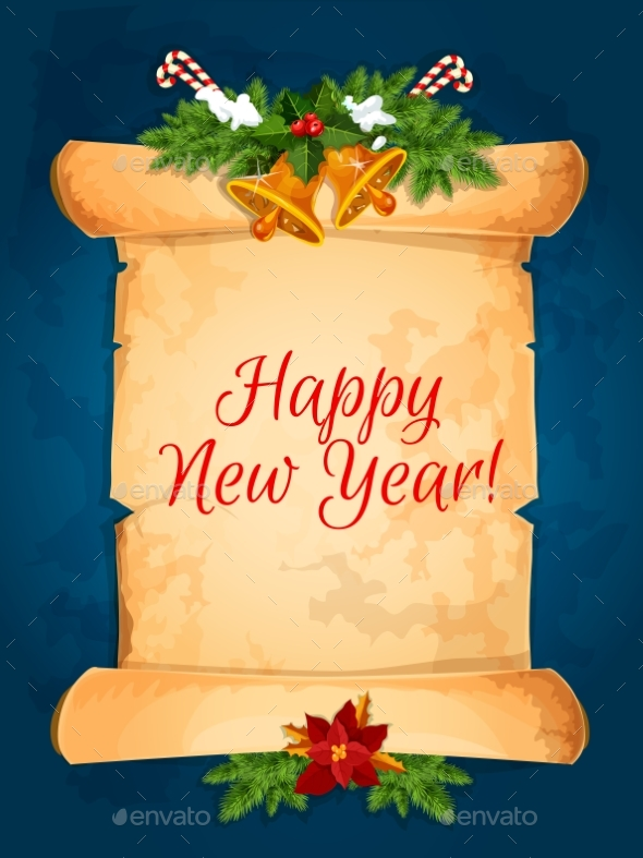 Happy New Year Wishes with Scroll