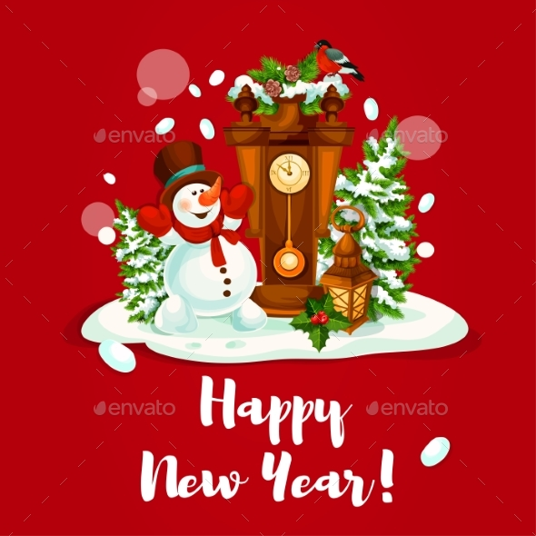 New Year Design with Snowman, Lantern and Clock