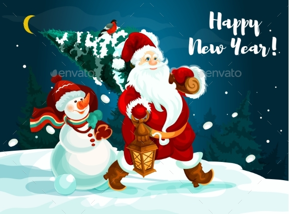 Santa and Snowman with Pine Tree and Gifts