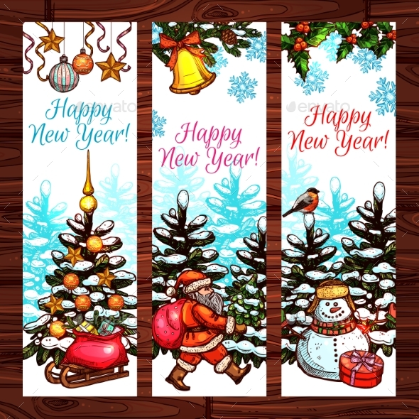 New Year Banners on Wooden Background