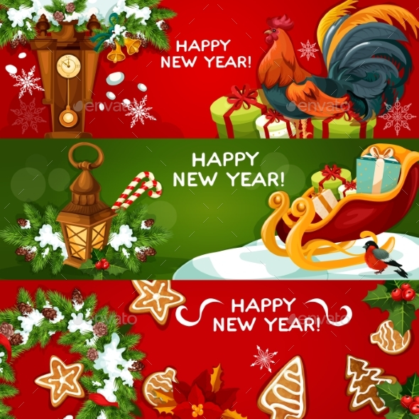 Happy New Year Holiday Banners