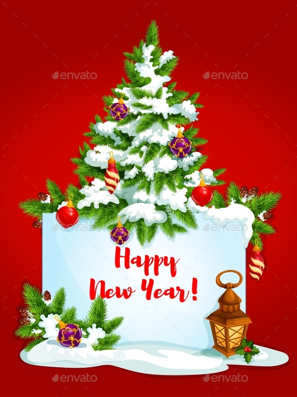 Holidays Greeting Card with Pine Tree