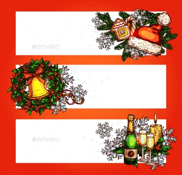 Christmas Winter Holidays Banner with Copy Space
