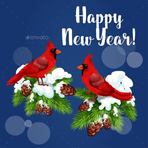 Red Cardinal Birds on Pine Tree