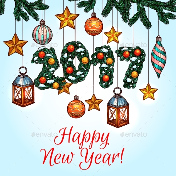 New Year Poster with Decorated Pine Tree