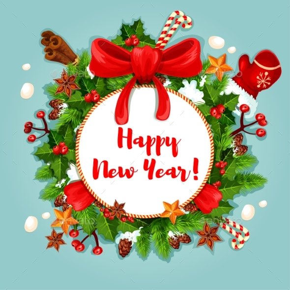 New Year Poster with Wreath and Decorations