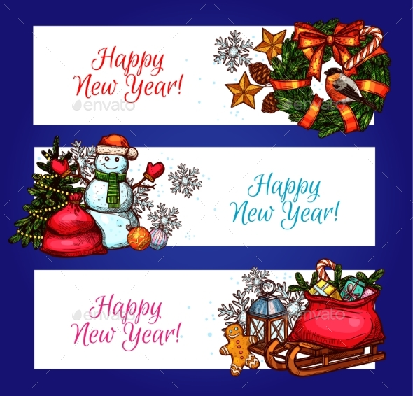 New Year Banners with Pine Tree, Gift and Snowman