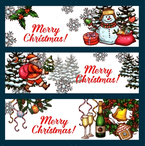 Christmas Holidays Banner Set for Festive Design