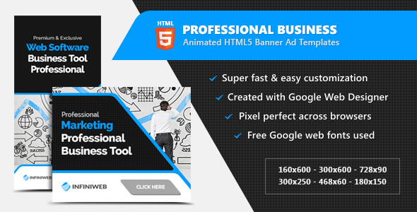 Professional Business HTML5 Banner Ads - Animated GWD Templates Download