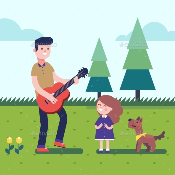 Father Playing Guitar to His Daugter with a Dog