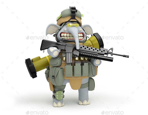 Cartoon Elephant Infantryman at the Post 3D Illustration
