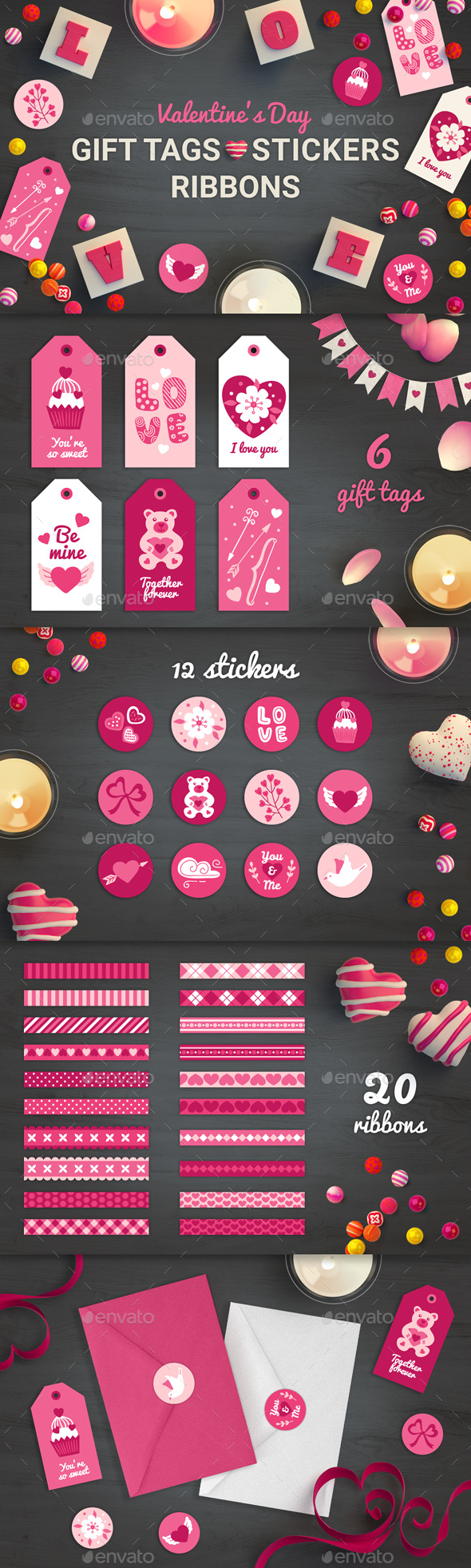 Valentine Gift Tags, Stickers, Ribbons
