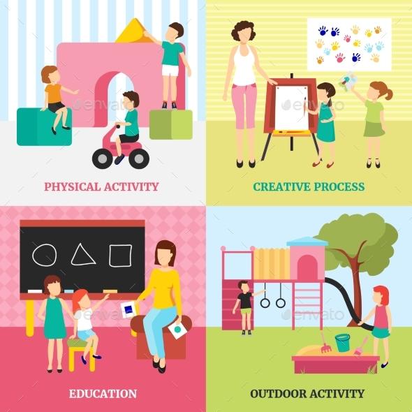 Kindergarten Concept Icons Set