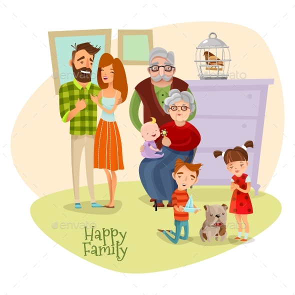 Happy Family Flat Template