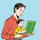 Father and Son Reading a Book - GraphicRiver Item for Sale