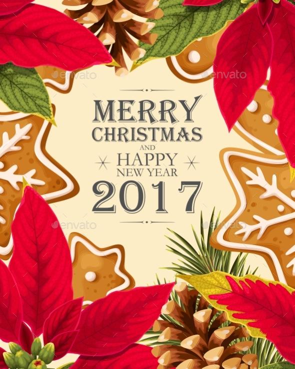 Christmas Card with Poincettia